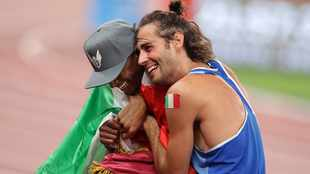 Mutaz Barshim, Gianmarco Tamberi high jumping for joy after Olympic gold feat