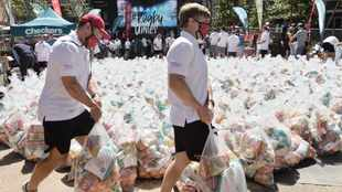 Covid-19: Rugby players donate food hampers to poor families
