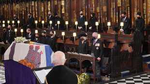 Prince Charles and Senior Royals sombre during Prince Philip's funeral