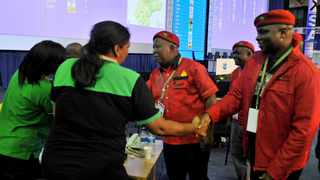 05/05/2014. EFF Commander in Chief Julias Malema during his first visit at the IEC National Results Operation Centre in Pretoria. Picture: Oupa Mokoena