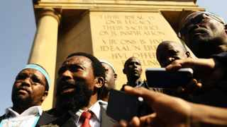 10.07.2013 AbaThembu King, Buyelekhaya Dlalindyebo accompanied by members of the Thembu royal house speaks to journalists after handing a petition to President Zuma's officials at the Union Buildings. Picture: Phill Magakoe
