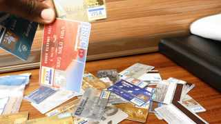 10/11/2010 Fraudulent credit cards which were confisticated from various FNB banks, during a discussion on the latest card fraud trends held in Sandton JHB. (960) Photo: Leon Nicholas