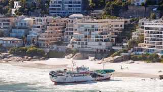 120514. Cape Town. The Eihatsu Maru stranded on the Clifton's 1st Beach. Picture henk Kruger/Cape Argus