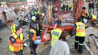 121107. Cape Town. Scafolding collapsed outside the Cape Town stadium prior to the Linkin Park concert. According to initial reports between 10 and 14 people have been injured. Picture henk kruger/cape argus