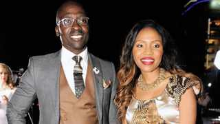 140815. Wanderers Club in Illovo, Johannesburg. Home Affairs Minister Malusi Gigaba and his wife Nomachule arrives at the GSport for Girls Awards. Picture: Dumisani Sibeko