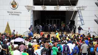 15/08/2012 TUT students gathered outside the Vice Chancellor's office in protest against various grieviances. Picture: Phill Magakoe
