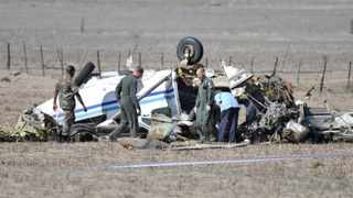 160303. Cape Town.Members of the Airforce are inspecting the scene of a plane crash. Two men are in a critical condition at Life Weskus Hospital after the aircraft (Cessna Caravan) they were flying in crashed near Langebaanweg Airforce base. Picture Henk Kruger/Cape Argus