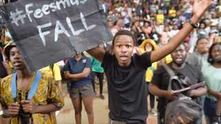 21/10/2015. University of Pretoria student protesting against the proposed the tuition fee increment. Picture: Oupa Mokoena