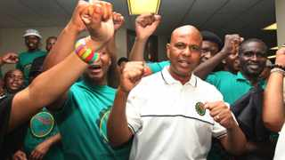 220114 AMCU President Joseph Mathunjwa and his members at the labour court hearing after the Judge postponed the judgment for the next 10 days.photo by Simphiwe Mbokazi 3