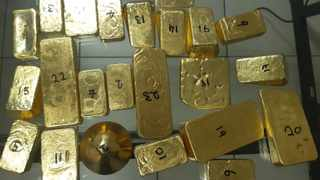 23 pieces of gold were found inside a bag at the OR Tambo airport. Picture supplied
