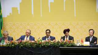 23072018 (Durban) Chairpersons of BRICS Business Council L-R Paulo Cesar de Silva e Souza of Brazil,Sergey Katyrin of Russia, Dr Iqbal Survé of South Africa, Onkar Kanwar of India and Captain Xu Lirong of China, attending the plenary session during the 6th BRICS Business Council Annual Meeting 2018 held in ICC, Durban. Picture: Motshwari Mofokeng/ African News Agency/ANA