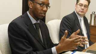 26/03/2012 ( L to R) Sibusiso Gumbi Home loans Analyst and Steven Barker newly appointed head of homeloans division both from Standard bank during their first Quarterly report held at JHB. JHB. (013) Photo: Leon Nicholas