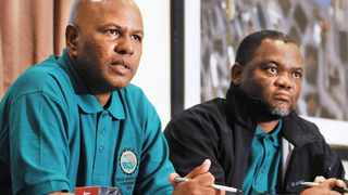 684 09-05-2013 Association of mineworkers and construction union (AMCU) president Joseph Mathunjwa with AMCU national treasurer Jimmy Gama during the media briefing held at Faircity hotel in Sandton today. Picture: Tiro Ramatlhatse
