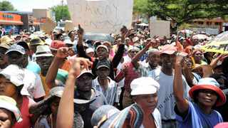 799 22.01.2014 Residents of Hebron marched to the Madibeng municipal offices as they protest against water shortages in their area, Brits,North West. Picture: Itumeleng English