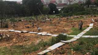 80 tombstones were removed from graves at the Mowbray Cemetery and placed in cult-like symbols, according to Voice of the Cape Radio's report. Picture: Voice of the Cape Radio, Facebook