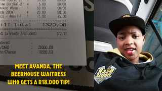 A Beerhouse waitress identified only as Ayanda received a tip of R18 680 from a patron who wants her to go back to school to finish matric. Picture: Beerhouse