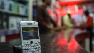 A BlackBerry handset stands at a shop in Hyderabad, India.