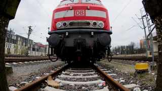 A German Railways train is seen parked at Hanover Station. Photo: Julian Stratenschulte