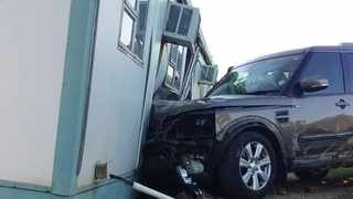 A Pretoria man was arrested after he allegedly drove drunk, passed out and crashed his SUV into a gate at his home before the car rammed through a neighbour's yard and eventually collided with a nearby police station's detective offices. Picture: Supplied