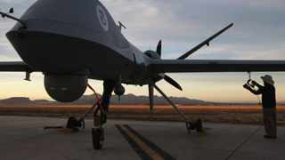 A US Predator drone is checked before a surveillance flight. File photo: AFP