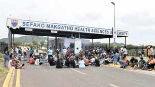 A file picture of students at Sefako Makgatho Health Sciences University protesting outside their campus. Picture: Oupa Mokoena/African News Agency (ANA)