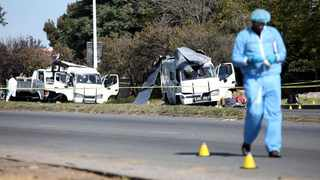 A forensic officer at the scene of a cash-in-transit heist in Boksburg. Picture: Nhlanhla Phillips/ANA