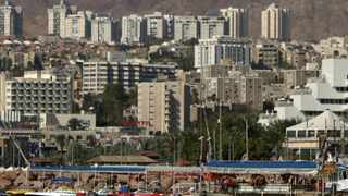 A general view of the Red Sea resort city of Eilat is seen in southern Israel on the border with Egypt.