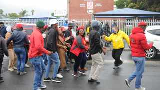 A group of EFF supporters protesting outside Brackenfell High School on Friday. Picture: Henk Kruger/African News Agency (ANA)