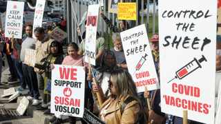 """A group of around 60 people supported the """"No To Mandatory Vaccination Rally"""" on Main Road close to Groote Schuur Hospital on Saturday Picture: Tracey Adams/African News Agency (ANA)"""