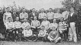 A group photograph of the 'England' side in 1891, although several Scots were in the team and so became known as the British Isles team