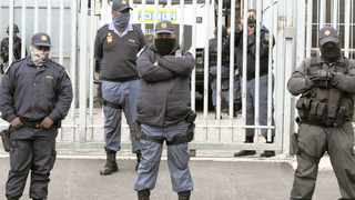 A heavy police presence at the Bishop Lavis Magistrate's Court for the appearance of alleged hitman Zane Killian, who is accused of shooting and killing top cop Charl Kinnear. Picture: Tracey/Adams African News Agency (ANA)