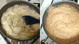 A home cook has shown off his bizarre - truly bizarre - way of cooking mashed potato on TikTok. Picture: TikTok