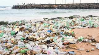 A pile of rubbish, mainly plastic, on the beach at the mouth of the uMngeni River in Durban. Picture: Willem Deyzel