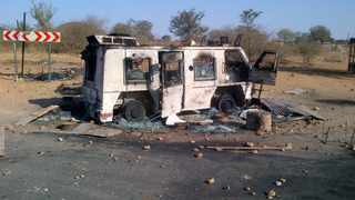 A police nyala was burnt during protests in Vuwani, Limpopo, on Friday. Photo:SAPS