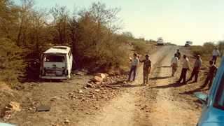A police photograph, from June 1986, of the burnt out Kombi, in which the Mamelodi Ten lost their lives.