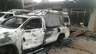 A police station in Limpopo has been torched along with two state vehicles during a community protest. Picture: ANA