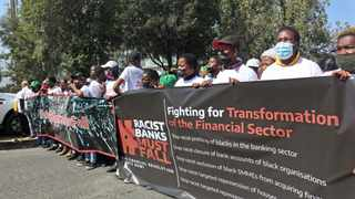 A protest attended by almost 3 000 people saw different civic organisations coming together and singing with one tune against structural financial racism and bank bullying. Picture: Timothy Bernard/African News Agency (ANA)