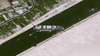 A satellite image shows stranded container ship Ever Given after it ran aground in Suez Canal, Egypt. File picture: CNES/AIRBUS DS via Reuters