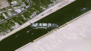 A satellite image shows stranded container ship Ever Given after it ran aground in the Suez Canal. Picture: CNES/AIRBUS DS via Reuters