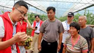 A sci-tech expert introduces grape management skills to villagers in Shanting District, Zaozhuang, east China's Shandong Province. Picture: Wang Qimeng/People's Daily Online