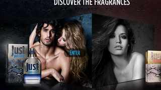 A screengrab from the justcavalli-fragrance.com website shows the new fragrance line.