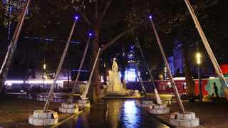 A spectacular installation of giant wands have been unveiled in Leicester Square in celebration of the 20th anniversary of the 'Harry Potter' film franchise.