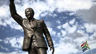 A statue of Nelson Mandela outside the gates of Drakenstein Correctional Centre, near Paarl. Picture: Finbarr O'Reilly