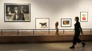 A student walks past some of the works that make up 'Handle with Care', an exhibition of selected pieces from the South32 art collection, at Javett Art Centre, University of Pretoria. Picture: Jacques Naude/African News Agency (ANA)