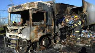 A truck that was set alight amid protest action by local truck drivers on the N1 in the Western Cape earlier this year. The truck attacks have resumed across the country in recent weeks. Picture: Henk Kruger/African News Agency(ANA)
