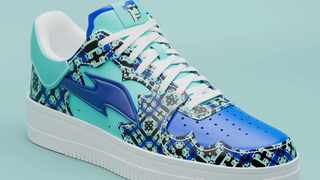 A virtual sneaker made by the digital fashion company RTFKT, featuring a unique design generated from a CryptoPunk, a popular kind of NFT. Picture: RTFKT INC/Handout via Reuters