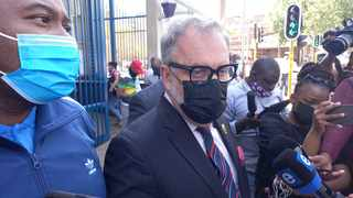 ANC members including Carl Niehaus at the Johannesburg Central Police Station. Photo: Timothy Bernard/African News Agency