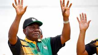ANC president Cyril Ramaphosa waves to supporters ahead of the ANC's 106th-anniversary celebrations in East London. Picture: Siphiwe Sibeko/Reuters