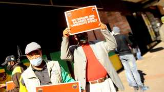 ANC staff picket outside Luthuli House in June demanding that the late salary payments, increases and contribution towards pension and UIF be addressed. Picture: Nokuthula Mbatha/African News Agency (ANA) Archives