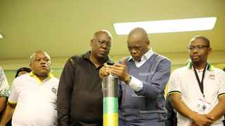 ANC top leaders, Sihle Zikalala, Mike Mabuyakhulu, Ace Magashule and Kwazi Mshengu lighting a candle while gearing up for the highly-anticipated eighth provincial conference. Picture: Motshwari Mofokeng/African News Agency/ANA